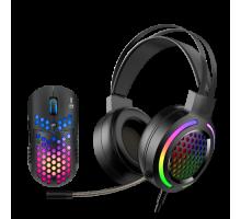 Комплект MARVO MH01BK: мышь игровая проводная, 6 кн, 800-6400dpi, USB, чёрный+игровые наушники