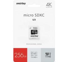 Карта памяти Smartbuy microSD 256 Gb Class 10 UHS-3 R/W:90/70 MB/s (с адаптером SD)