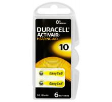 Батарейки Duracell ZA10, для слуховых аппаратов, 1,4V, BL6, 6 шт в блистере
