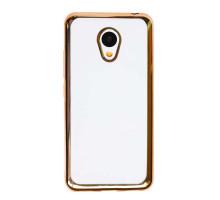 Чехол-накладка Meizu MX6, силиконовый с золотой окантовкой