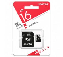 Карта памяти Smartbuy microSDHC 16 Gb Сlass 4, с адаптером SD