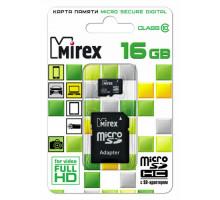 Карта памяти Mirex microSDHC 16 Gb class 10, с адаптером SD