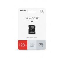 Карта памяти Smartbuy microSDXC 128 Gb Class10PROU3 с адаптером SD R/W:90/70 MB/s
