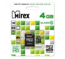 Карта памяти Mirex microSDHC 4 Gb class 10, с адаптером SD