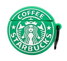 Чехол силиконовый AirPods, с карабином brands, Coffee Starbucks