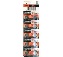 Батарейки Maxell AG12 LR43 186 386 GP86A, BL10, 10 шт в блистере