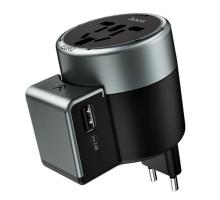 СЗУ переходник 3в1, Fast, 2 USB, 2.4A, EU,UK,US, HOCO AC4, black-gray
