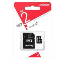 Карта памяти Smartbuy microSD 2 Gb, с адаптером SD