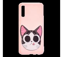 Чехол - накладка 'TPU резиновый тонкий  - Котёнок Чии' для Galaxy A205 A20/A305 A30 (2019) (цвет бел
