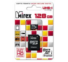 Карта памяти Mirex microSDXC 128 Gb class 10, UHS-I, с адаптером SD