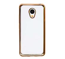 Чехол-накладка Meizu 3S, силиконовый с золотой окантовкой
