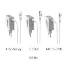 СЗУ + встроенный кабель TypeC Borofone BA34A 2.1A, 2USB, белое
