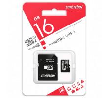 Карта памяти Smartbuy microSDHC 16 Gb Сlass 10, с адаптером SD, UHS-1
