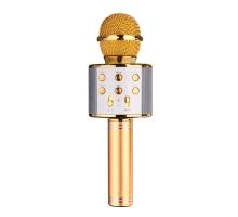 Микрофон BT, с колонкой, HANDHELD KTV WS-858, gold