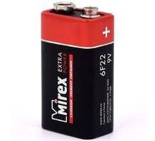 Батарейки Mirex 6F22, SR1, 1 шт в термопленке