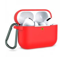 Чехол AirPods Pro Silicone Case, с карабином, красный
