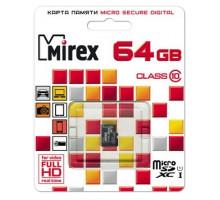 Карта памяти Mirex microSDXC 64 Gb class 10, UHS-I