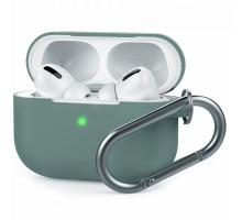Чехол AirPods Pro Silicone Case, с карабином, оливковый