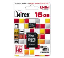 Карта памяти Mirex microSDHC 16 Gb class 10, UHS-I, с адаптером SD
