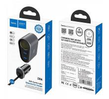 Разветвитель прикуривателя Hoco Z35A, 2.4A, Fast, 1 гнездо + 3 USB, 1.2m, black