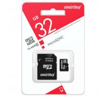 Карта памяти Smartbuy microSDHC 32 Gb class 10, с адаптером SD