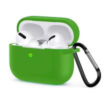 Чехол AirPods Pro Silicone Case, с карабином, зеленый
