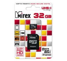Карта памяти Mirex microSDHC 32 Gb class 10, UHS-I, с адаптером SD