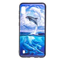Чехол - накладка для Xiaomi Redmi 7 - пластиковый матовый  - Дельфины (цвет голубой, в пакете)
