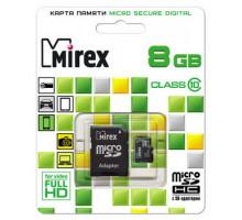 Карта памяти Mirex microSDHC 8 Gb class 10, с адаптером SD