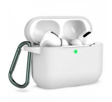 Чехол AirPods Pro Silicone Case, с карабином, белый