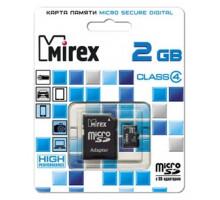 Карта памяти Mirex microSD 2 Gb class 4, с адаптером SD