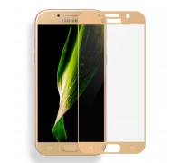 Защитное стекло 2,5D Samsung A320/A3 2017, gold
