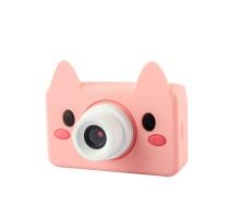 Фотоаппарат детский с силиконовым чехлом хрюшка, бело-розовый