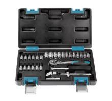 """Набор головок 29 предметов, удлинитель, кардан, вороток, отверток, 1/4"""",24 зуба,CR-V, Smartbuy Tools"""