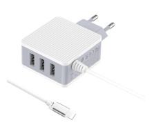 СЗУ + встроенный кабель i5-11Pro BOROFONE BA42A, 3USB 3,1A, белое