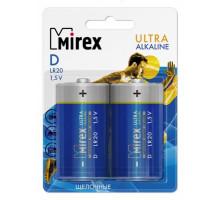 Батарейки Mirex LR20, BL2, 2 шт в блистере