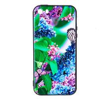 Чехол - накладка 'пластиковый лаковый с рисунком - Сирень с бабочкой' для Honor 7C Pro (цвет разноцв